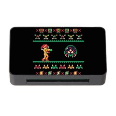 We Wish You A Metroid Christmas Ugly Holiday Christmas Black Background Memory Card Reader with CF
