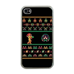 We Wish You A Metroid Christmas Ugly Holiday Christmas Black Background Apple iPhone 4 Case (Clear)