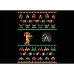 We Wish You A Metroid Christmas Ugly Holiday Christmas Black Background Birthday Cake 3D Greeting Card (7x5)