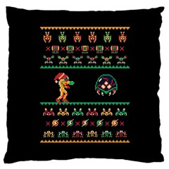 We Wish You A Metroid Christmas Ugly Holiday Christmas Black Background Large Cushion Case (Two Sides)