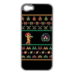 We Wish You A Metroid Christmas Ugly Holiday Christmas Black Background Apple iPhone 5 Case (Silver)