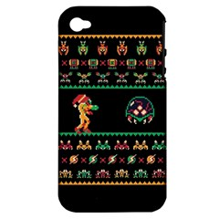 We Wish You A Metroid Christmas Ugly Holiday Christmas Black Background Apple iPhone 4/4S Hardshell Case (PC+Silicone)