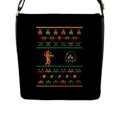 We Wish You A Metroid Christmas Ugly Holiday Christmas Black Background Flap Messenger Bag (L)