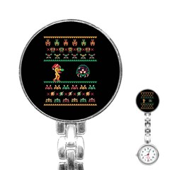 We Wish You A Metroid Christmas Ugly Holiday Christmas Black Background Stainless Steel Nurses Watch