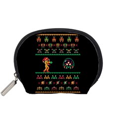 We Wish You A Metroid Christmas Ugly Holiday Christmas Black Background Accessory Pouches (Small)