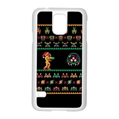 We Wish You A Metroid Christmas Ugly Holiday Christmas Black Background Samsung Galaxy S5 Case (white)