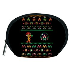 We Wish You A Metroid Christmas Ugly Holiday Christmas Black Background Accessory Pouches (medium)