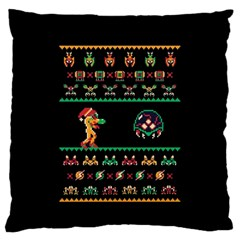 We Wish You A Metroid Christmas Ugly Holiday Christmas Black Background Large Flano Cushion Case (two Sides)