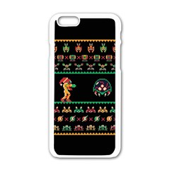 We Wish You A Metroid Christmas Ugly Holiday Christmas Black Background Apple iPhone 6/6S White Enamel Case