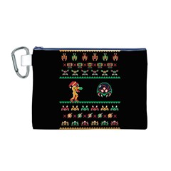 We Wish You A Metroid Christmas Ugly Holiday Christmas Black Background Canvas Cosmetic Bag (M)