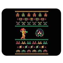 We Wish You A Metroid Christmas Ugly Holiday Christmas Black Background Double Sided Flano Blanket (medium)