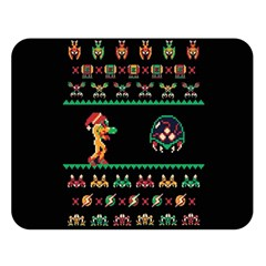 We Wish You A Metroid Christmas Ugly Holiday Christmas Black Background Double Sided Flano Blanket (Large)