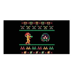 We Wish You A Metroid Christmas Ugly Holiday Christmas Black Background Satin Shawl