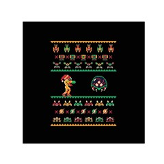 We Wish You A Metroid Christmas Ugly Holiday Christmas Black Background Small Satin Scarf (Square)