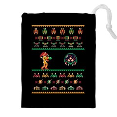 We Wish You A Metroid Christmas Ugly Holiday Christmas Black Background Drawstring Pouches (XXL)