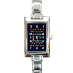 We Wish You A Metroid Christmas Ugly Holiday Christmas Blue Background Rectangle Italian Charm Watch