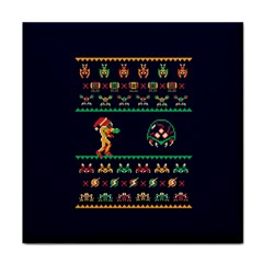 We Wish You A Metroid Christmas Ugly Holiday Christmas Blue Background Tile Coasters