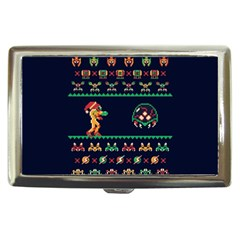 We Wish You A Metroid Christmas Ugly Holiday Christmas Blue Background Cigarette Money Cases