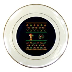 We Wish You A Metroid Christmas Ugly Holiday Christmas Blue Background Porcelain Plates