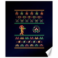 We Wish You A Metroid Christmas Ugly Holiday Christmas Blue Background Canvas 8  X 10