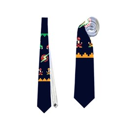We Wish You A Metroid Christmas Ugly Holiday Christmas Blue Background Neckties (One Side)