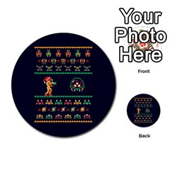 We Wish You A Metroid Christmas Ugly Holiday Christmas Blue Background Multi-purpose Cards (Round)