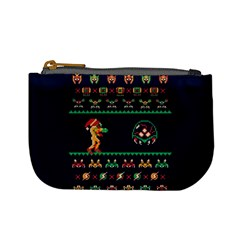 We Wish You A Metroid Christmas Ugly Holiday Christmas Blue Background Mini Coin Purses