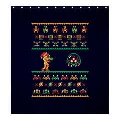 We Wish You A Metroid Christmas Ugly Holiday Christmas Blue Background Shower Curtain 66  X 72  (large)