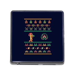 We Wish You A Metroid Christmas Ugly Holiday Christmas Blue Background Memory Card Reader (square)