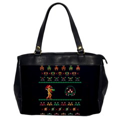 We Wish You A Metroid Christmas Ugly Holiday Christmas Blue Background Office Handbags