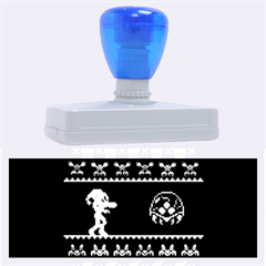 We Wish You A Metroid Christmas Ugly Holiday Christmas Blue Background Rubber Address Stamps (xl)