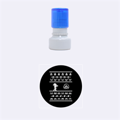We Wish You A Metroid Christmas Ugly Holiday Christmas Blue Background Rubber Round Stamps (small)