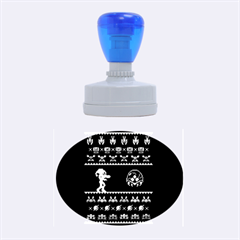We Wish You A Metroid Christmas Ugly Holiday Christmas Blue Background Rubber Oval Stamps