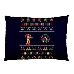 We Wish You A Metroid Christmas Ugly Holiday Christmas Blue Background Pillow Case (two Sides)