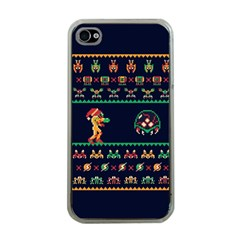 We Wish You A Metroid Christmas Ugly Holiday Christmas Blue Background Apple Iphone 4 Case (clear)