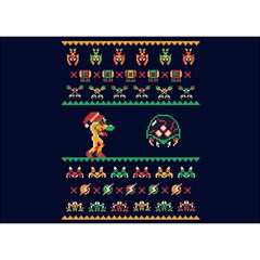 We Wish You A Metroid Christmas Ugly Holiday Christmas Blue Background Birthday Cake 3d Greeting Card (7x5)