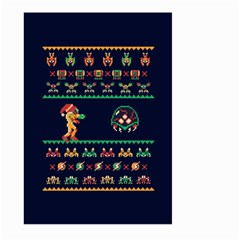We Wish You A Metroid Christmas Ugly Holiday Christmas Blue Background Large Garden Flag (two Sides)