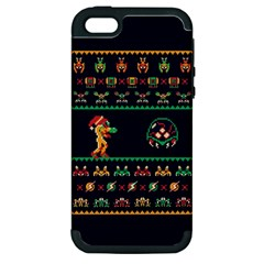 We Wish You A Metroid Christmas Ugly Holiday Christmas Blue Background Apple Iphone 5 Hardshell Case (pc+silicone)