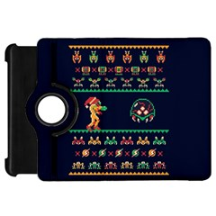 We Wish You A Metroid Christmas Ugly Holiday Christmas Blue Background Kindle Fire Hd Flip 360 Case