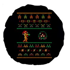We Wish You A Metroid Christmas Ugly Holiday Christmas Blue Background Large 18  Premium Round Cushions