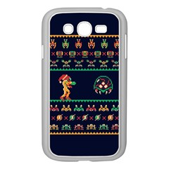 We Wish You A Metroid Christmas Ugly Holiday Christmas Blue Background Samsung Galaxy Grand Duos I9082 Case (white)