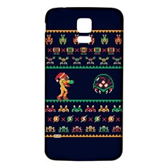 We Wish You A Metroid Christmas Ugly Holiday Christmas Blue Background Samsung Galaxy S5 Back Case (white)