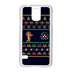We Wish You A Metroid Christmas Ugly Holiday Christmas Blue Background Samsung Galaxy S5 Case (white)