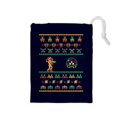 We Wish You A Metroid Christmas Ugly Holiday Christmas Blue Background Drawstring Pouches (medium)