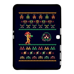 We Wish You A Metroid Christmas Ugly Holiday Christmas Blue Background Samsung Galaxy Tab 4 (10 1 ) Hardshell Case