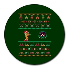 We Wish You A Metroid Christmas Ugly Holiday Christmas Green Background Round Mousepads