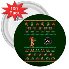 We Wish You A Metroid Christmas Ugly Holiday Christmas Green Background 3  Buttons (100 Pack)