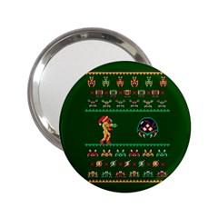 We Wish You A Metroid Christmas Ugly Holiday Christmas Green Background 2 25  Handbag Mirrors