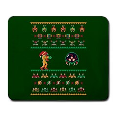 We Wish You A Metroid Christmas Ugly Holiday Christmas Green Background Large Mousepads