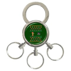 We Wish You A Metroid Christmas Ugly Holiday Christmas Green Background 3 Ring Key Chains